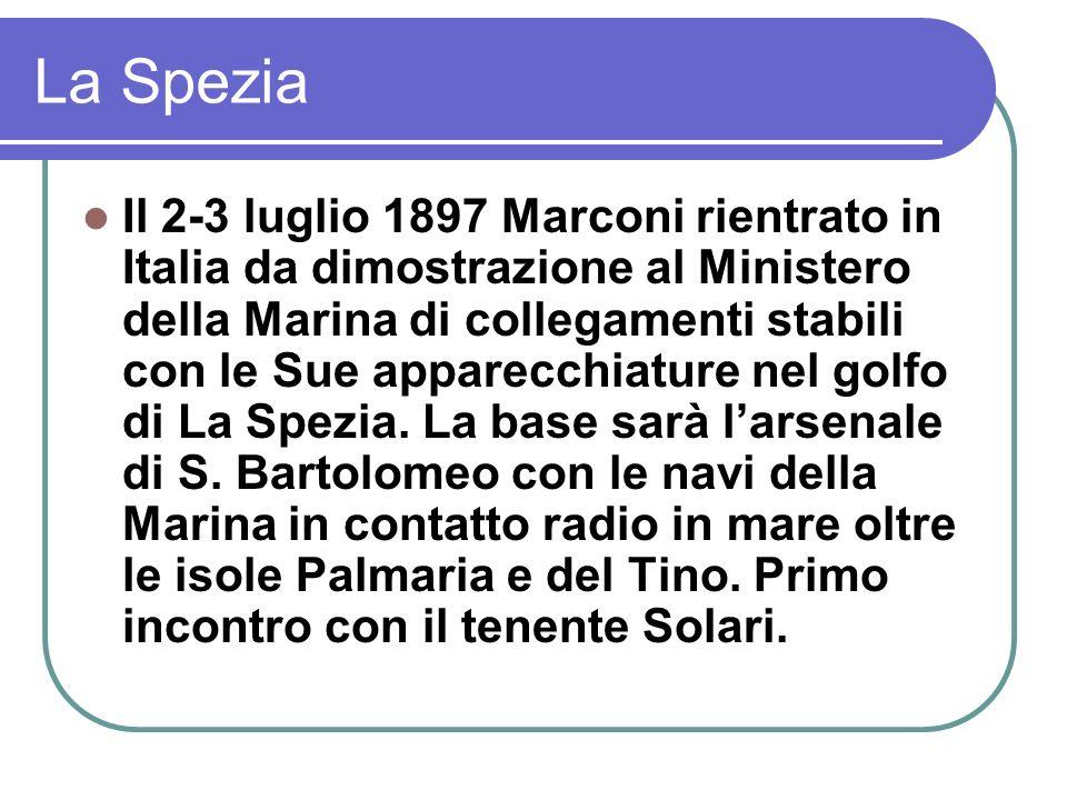 La Spezia Il 2-3 luglio 1897 Marconi rientrato in Italia da dimostrazione al Ministero della Marina di collegamenti stabili con le Sue apparecchiature nel golfo di La Spezia.