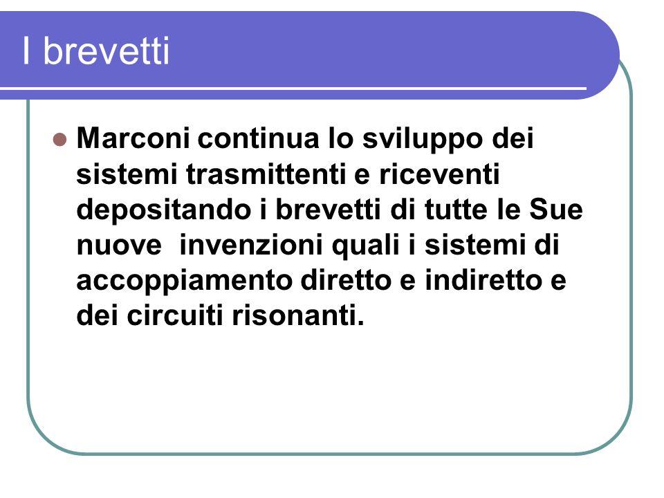I brevetti Marconi continua lo sviluppo dei sistemi trasmittenti e riceventi depositando i brevetti di tutte le Sue nuove invenzioni quali i sistemi di accoppiamento diretto e indiretto e dei circuiti risonanti.