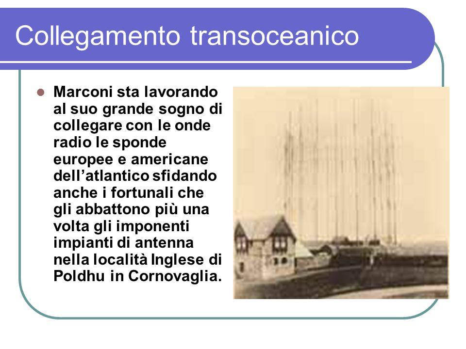 Collegamento transoceanico Marconi sta lavorando al suo grande sogno di collegare con le onde radio le sponde europee e americane dellatlantico sfidando anche i fortunali che gli abbattono più una volta gli imponenti impianti di antenna nella località Inglese di Poldhu in Cornovaglia.