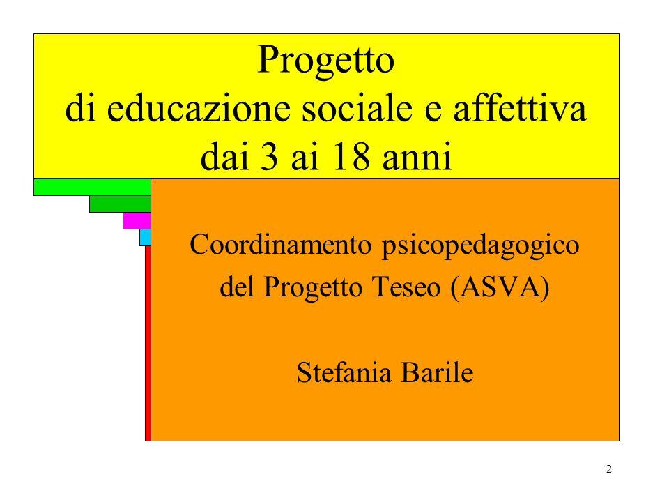 2 Progetto di educazione sociale e affettiva dai 3 ai 18 anni Coordinamento psicopedagogico del Progetto Teseo (ASVA) Stefania Barile