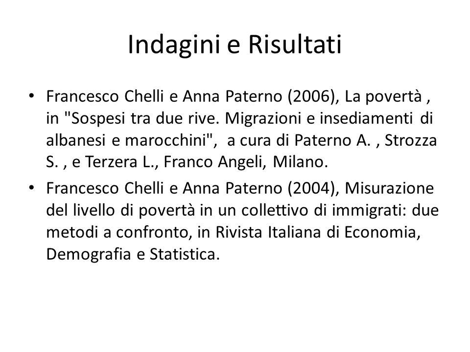 Indagini e Risultati Francesco Chelli e Anna Paterno (2006), La povertà, in Sospesi tra due rive.