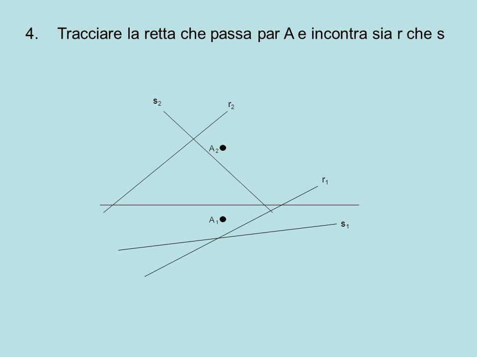4.Tracciare la retta che passa par A e incontra sia r che s r2r2 r1r1 s1s1 s2s2 A 2A 2 A 1A 1