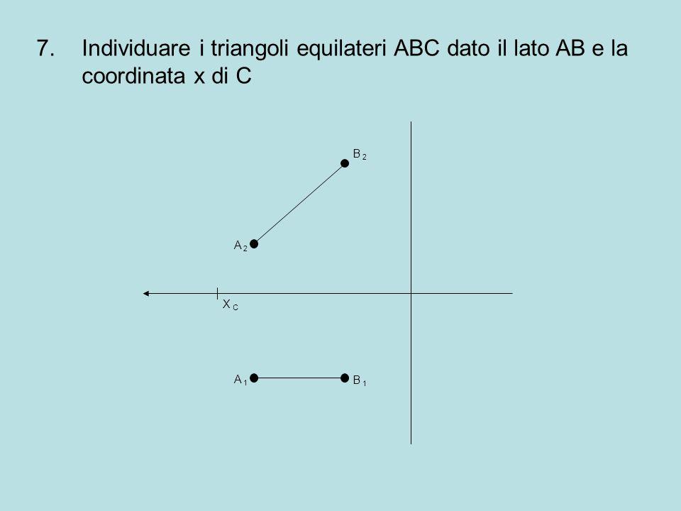7.Individuare i triangoli equilateri ABC dato il lato AB e la coordinata x di C B 2B 2 B 1B 1 A 1A 1 A 2A 2 X CX C