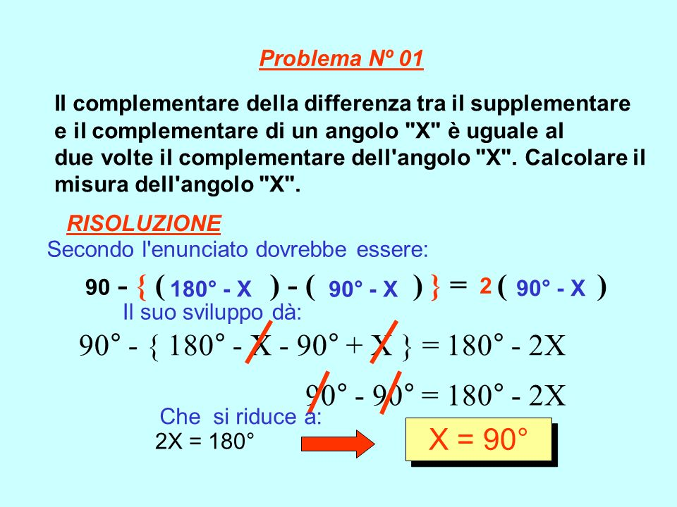 Il complementare della differenza tra il supplementare e il complementare di un angolo