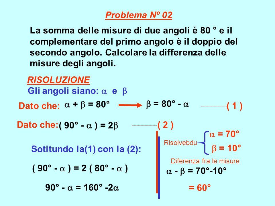 La somma delle misure di due angoli è 80 ° e il complementare del primo angolo è il doppio del secondo angolo. Calcolare la differenza delle misure de