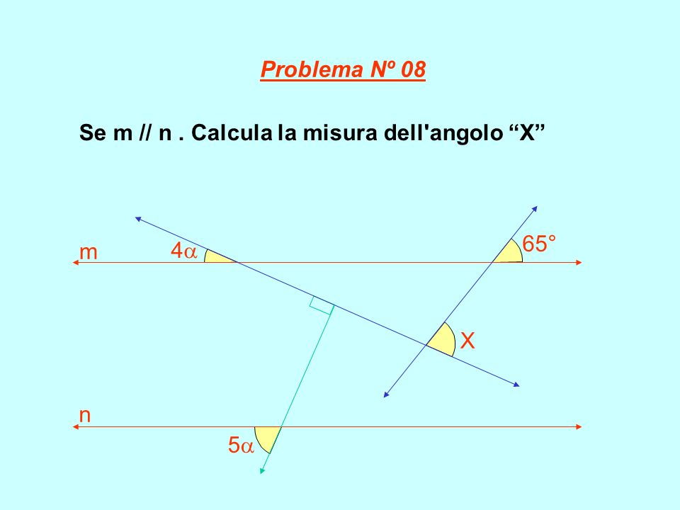 Se m // n. Calcula la misura dell'angolo X 5 4 65° X m n Problema Nº 08