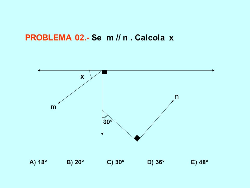 m n 30° X PROBLEMA 02.- Se m // n. Calcola x A) 18° B) 20° C) 30° D) 36° E) 48°