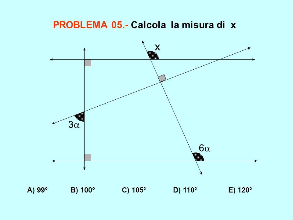 PROBLEMA 05.- Calcola la misura di x A) 99° B) 100° C) 105° D) 110° E) 120° 3 6 x