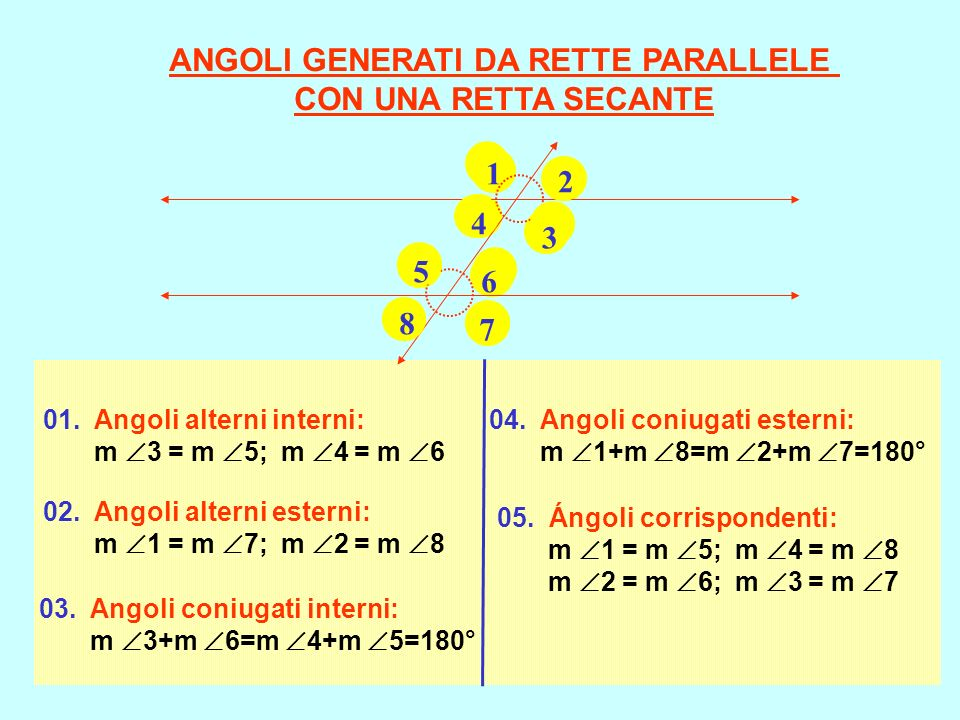 01. Angoli alterni interni: m 3 = m 5; m 4 = m 6 02. Angoli alterni esterni: m 1 = m 7; m 2 = m 8 03. Angoli coniugati interni: m 3+m 6=m 4+m 5=180° 0