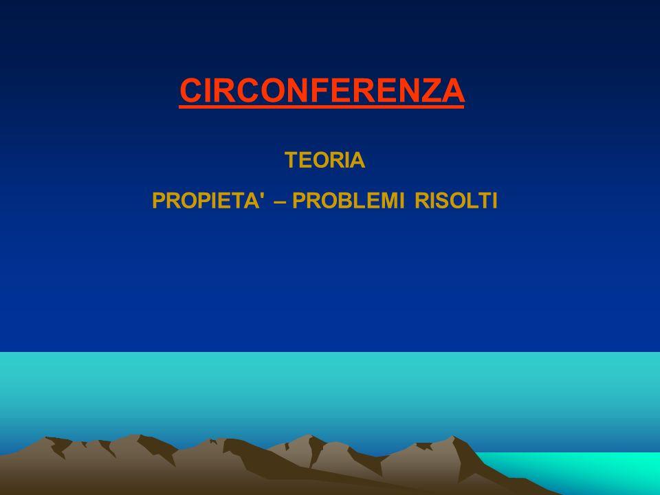 CIRCONFERENZA TEORIA PROPIETA' – PROBLEMI RISOLTI