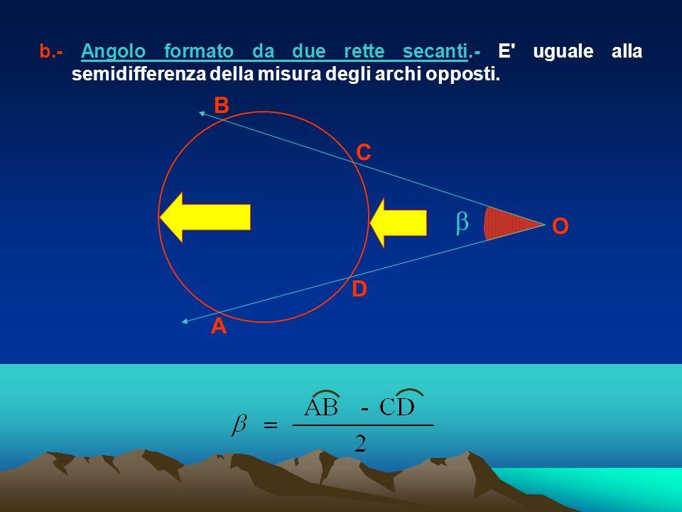A B C O D b.- Angolo formato da due rette secanti.- E' uguale alla semidifferenza della misura degli archi opposti.