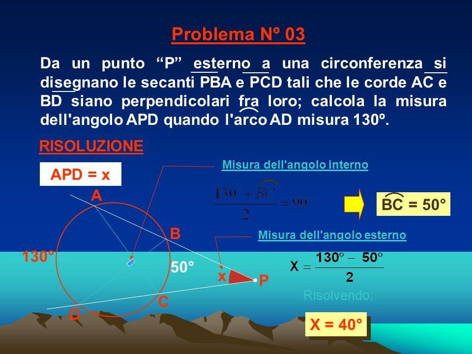 x 130° A C B D X = 40° 50° Problema Nº 03 RISOLUZIONE P Risolvendo: APD = x Misura dell'angolo interno Misura dell'angolo esterno BC = 50° Da un punto