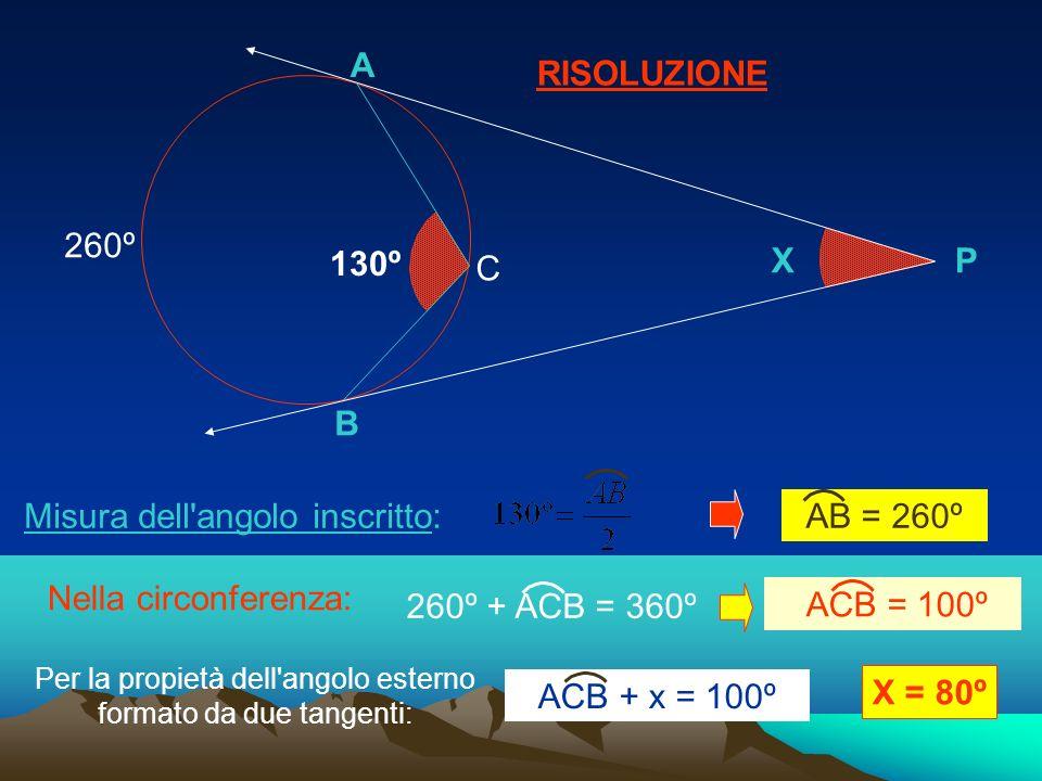 RISOLUZIONE B A XP 130º C Misura dell'angolo inscritto: Nella circonferenza: 260º Per la propietà dell'angolo esterno formato da due tangenti: X = 80º