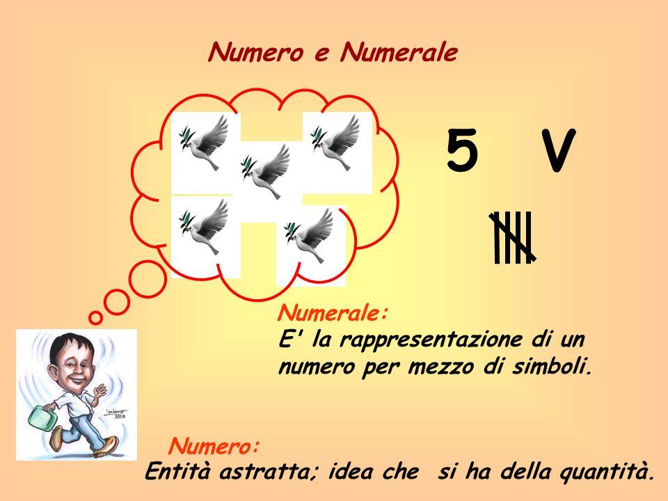 5 Numero e Numerale Entità astratta; idea che si ha della quantità. E' la rappresentazione di un numero per mezzo di simboli. Numero: Numerale: V