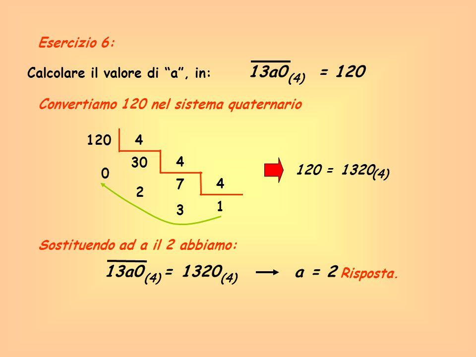 Calcolare il valore di a, in: 13a0= 120 (4) Convertiamo 120 nel sistema quaternario Risposta. 1204 30 0 4 7 2 4 1 3 120 =1320 (4) Sostituendo ad a il
