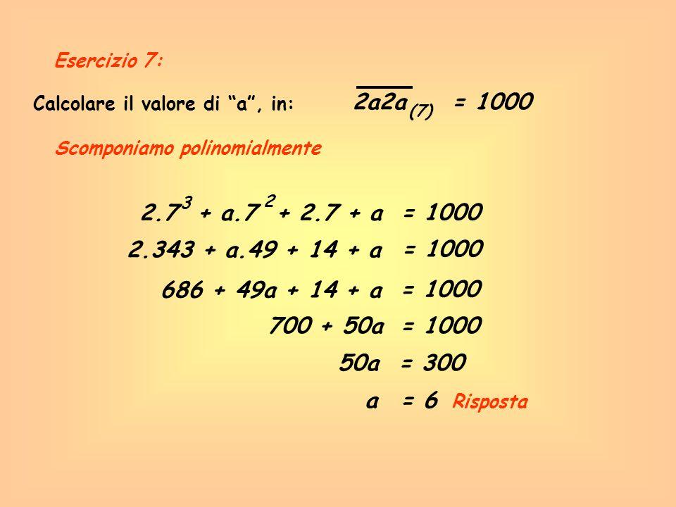 Calcolare il valore di a, in: 2a2a= 1000 (7) Scomponiamo polinomialmente 2.7 + a.7 + 2.7 + a 3 2 = 1000 686 + 49a + 14 + a = 1000 700 + 50a= 1000 50a=
