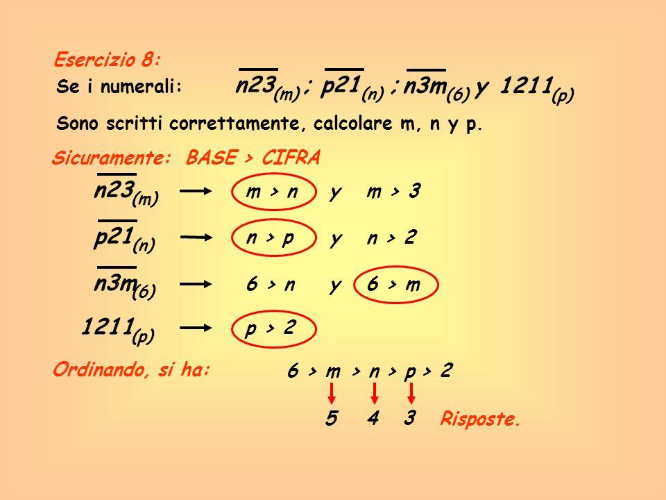 Se i numerali: n23 ; (m) Sicuramente: BASE > CIFRA Risposte. p21 ; (n) n3m y (6) 1211 (p) Sono scritti correttamente, calcolare m, n y p. n23 (m) m >
