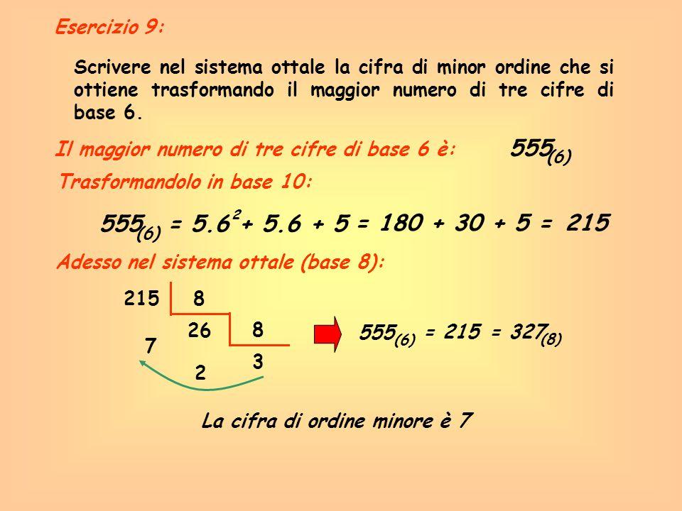 Scrivere nel sistema ottale la cifra di minor ordine che si ottiene trasformando il maggior numero di tre cifre di base 6. 555 (6) Il maggior numero d