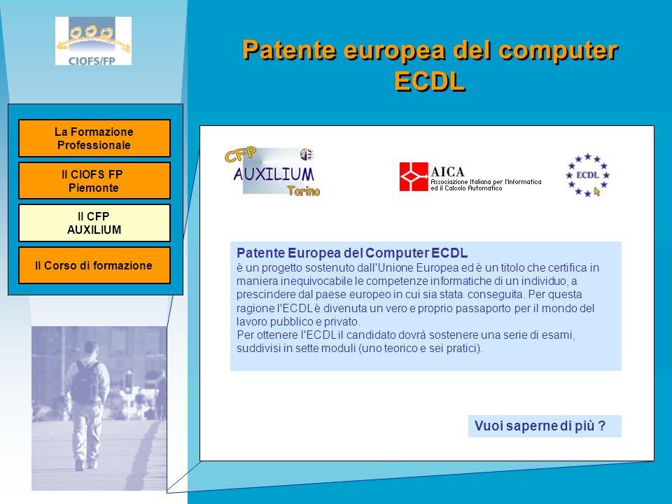 Patente europea del computer ECDL Ministero del lavoro Unione Europea Patente Europea del Computer ECDL è un progetto sostenuto dall Unione Europea ed è un titolo che certifica in maniera inequivocabile le competenze informatiche di un individuo, a prescindere dal paese europeo in cui sia stata conseguita.