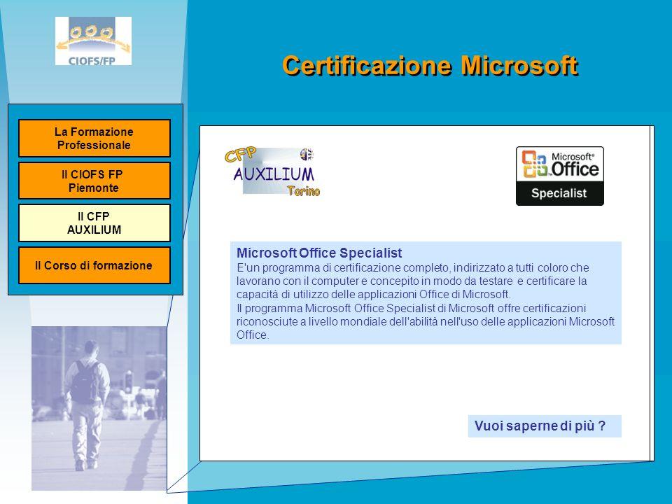 Certificazione Microsoft Ministero del lavoro Unione Europea Microsoft Office Specialist E un programma di certificazione completo, indirizzato a tutti coloro che lavorano con il computer e concepito in modo da testare e certificare la capacità di utilizzo delle applicazioni Office di Microsoft.
