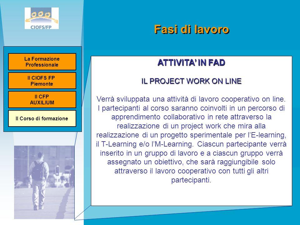Fasi di lavoro Ministero del lavoro Unione Europea ATTIVITA IN FAD IL PROJECT WORK ON LINE Verrà sviluppata una attività di lavoro cooperativo on line.