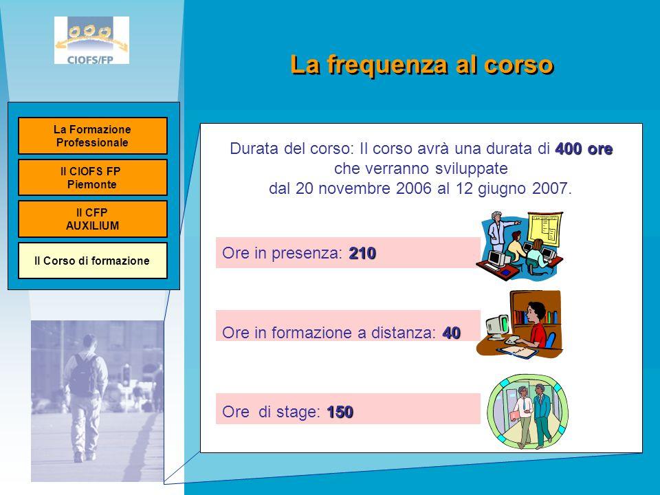 La frequenza al corso Ministero del lavoro Unione Europea 400 ore Durata del corso: Il corso avrà una durata di 400 ore che verranno sviluppate dal 20 novembre 2006 al 12 giugno 2007.