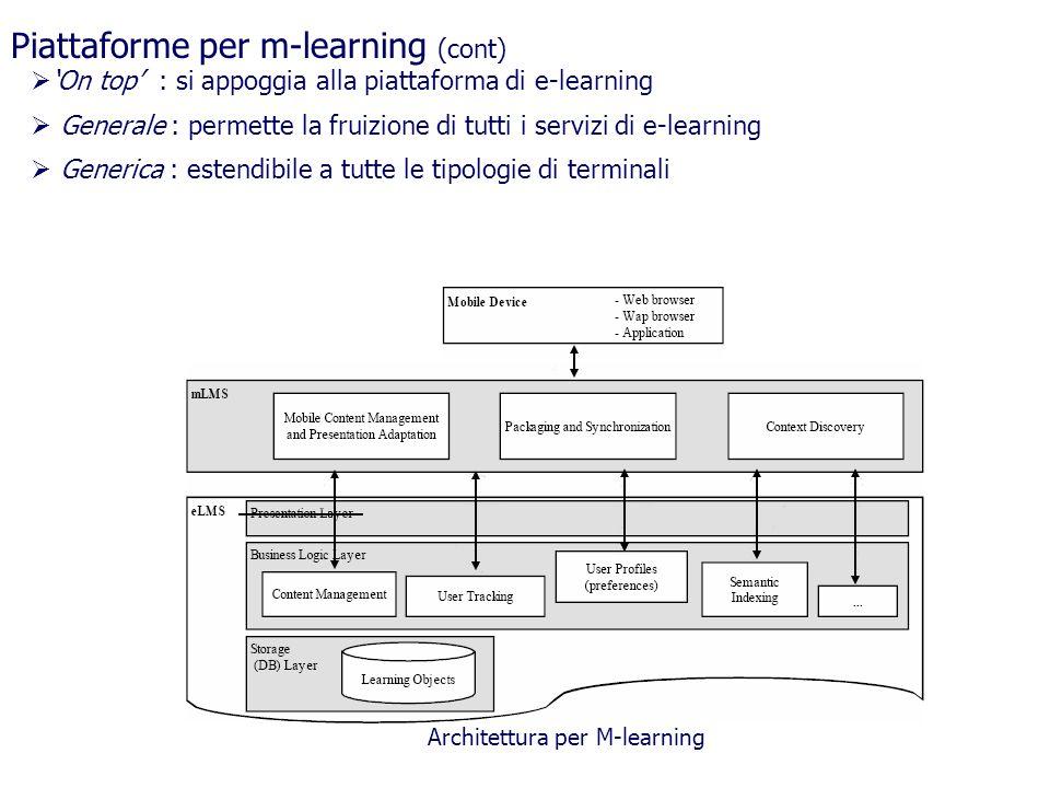 Piattaforme per m-learning (cont) On top : si appoggia alla piattaforma di e-learning Generale : permette la fruizione di tutti i servizi di e-learnin