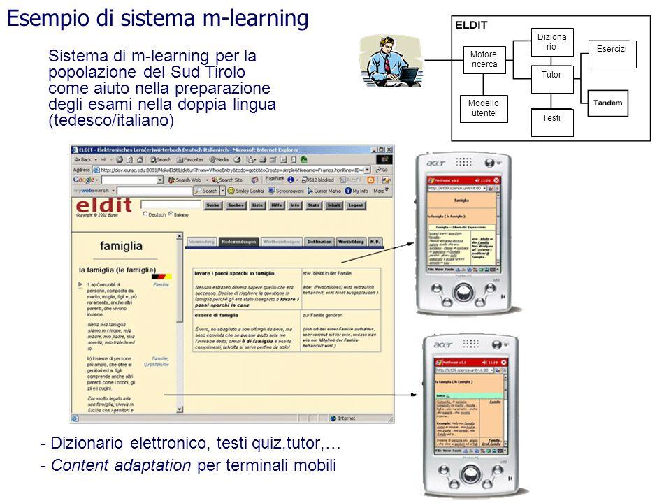 - Dizionario elettronico, testi quiz,tutor,… - Content adaptation per terminali mobili Esempio di sistema m-learning Motore ricerca Diziona rio Tutor