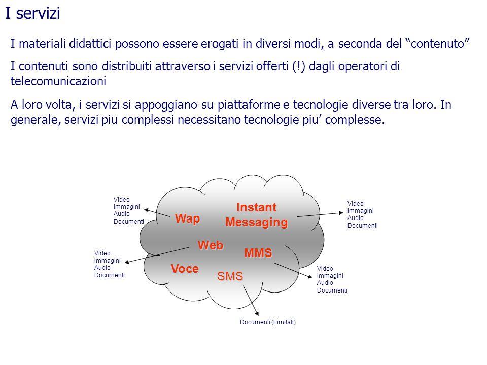 I materiali didattici possono essere erogati in diversi modi, a seconda del contenuto I serviziSMS MMS Wap Web I contenuti sono distribuiti attraverso