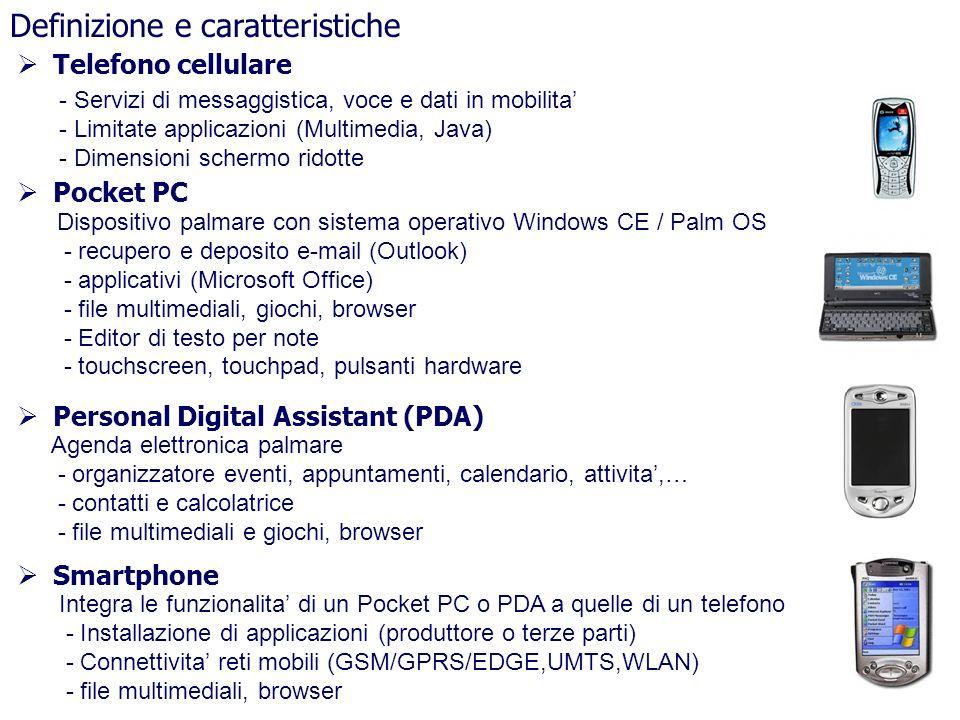 Definizione e caratteristiche Telefono cellulare Pocket PC Personal Digital Assistant (PDA) Smartphone - Servizi di messaggistica, voce e dati in mobi