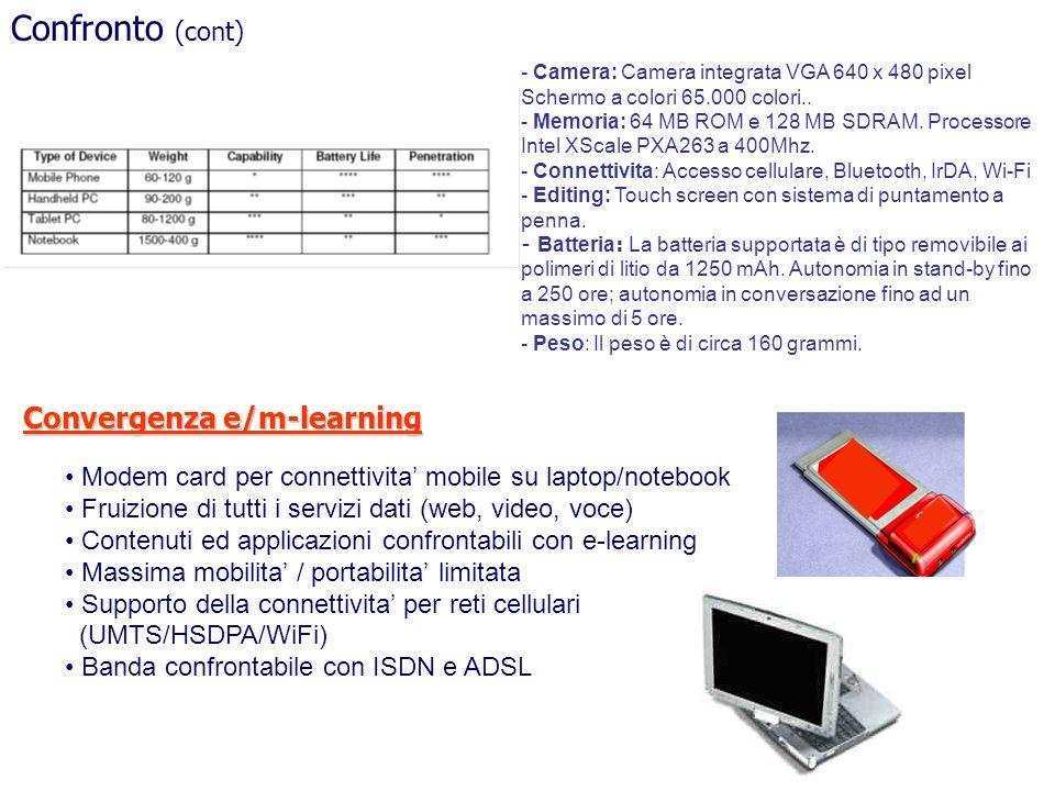 Confronto (cont) Modem card per connettivita mobile su laptop/notebook Fruizione di tutti i servizi dati (web, video, voce) Contenuti ed applicazioni