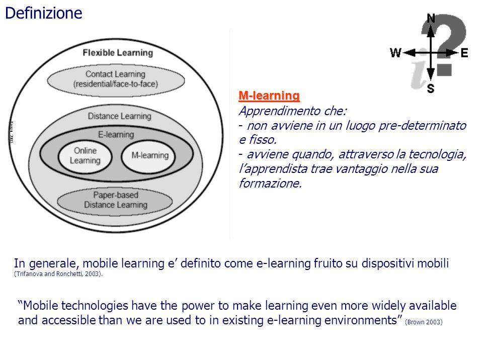 Brown, 2003 Definizione Apprendimento che: - non avviene in un luogo pre-determinato e fisso. - avviene quando, attraverso la tecnologia, lapprendista