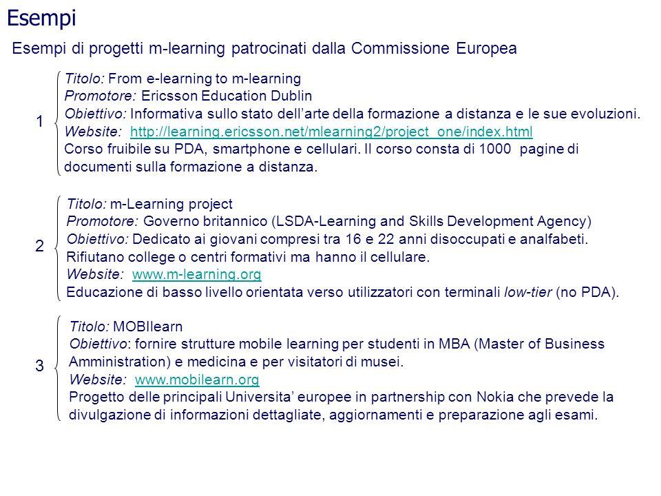 Esempi di progetti m-learning patrocinati dalla Commissione Europea Esempi Titolo: From e-learning to m-learning Promotore: Ericsson Education Dublin