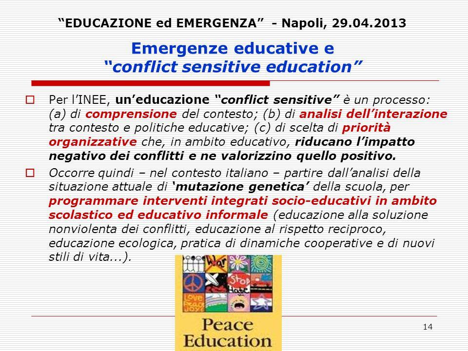 14 Emergenze educative e conflict sensitive education Per lINEE, uneducazione conflict sensitive è un processo: (a) di comprensione del contesto; (b)