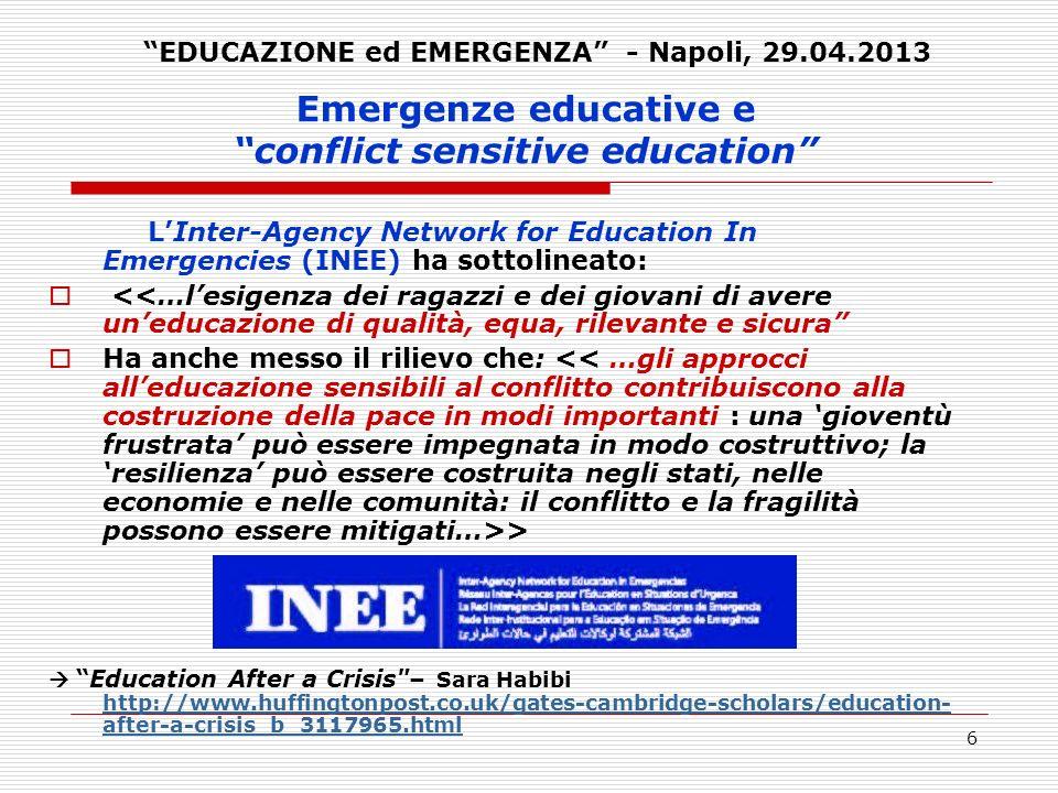 7 Emergenze educative e conflict sensitive education 3.