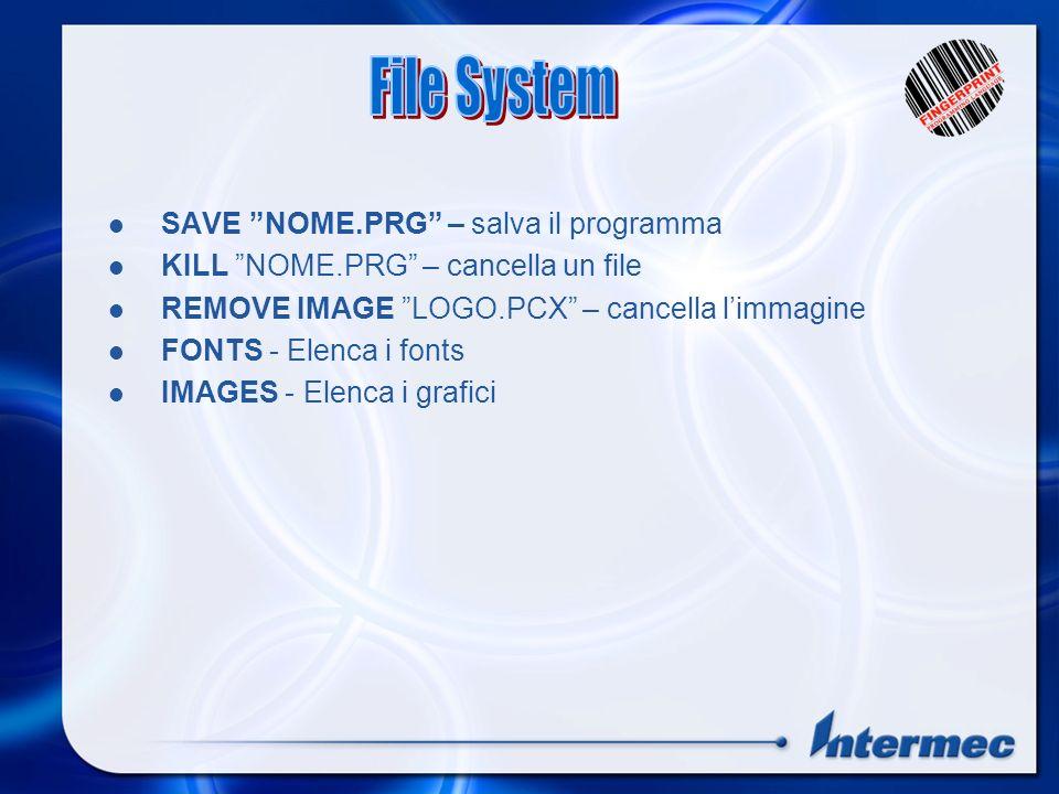 FILES, ROM:, CARD1: – Elenca i file in memoria NEW – cancella il programma dalla memoria LOAD NOME.PRG – Carica il programma MERGE NOME.PRG – Append d