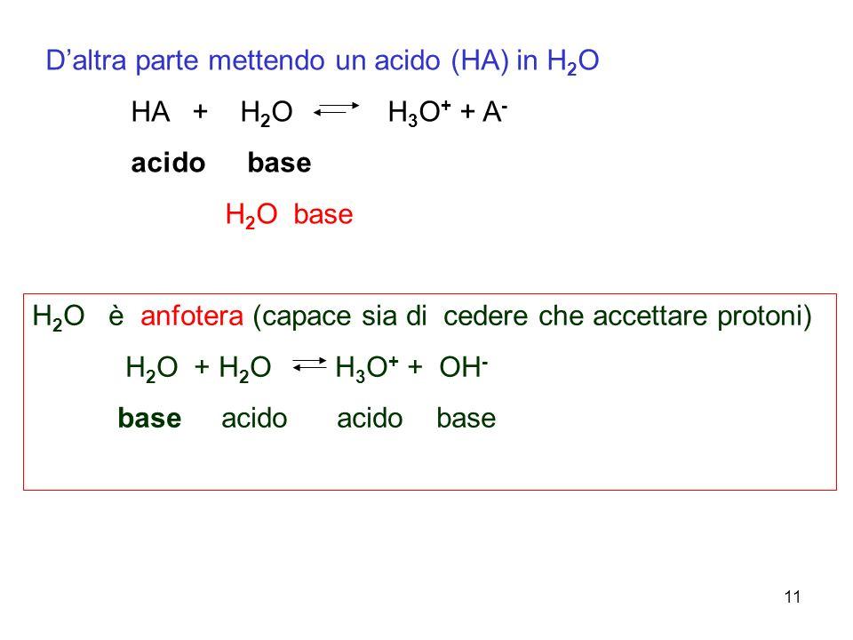 11 Daltra parte mettendo un acido (HA) in H 2 O HA + H 2 O H 3 O + + A - acido base H 2 O base H 2 O è anfotera (capace sia di cedere che accettare protoni) H 2 O + H 2 O H 3 O + + OH - base acido acido base