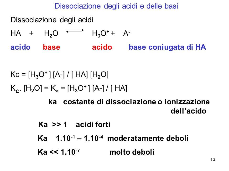 13 Dissociazione degli acidi e delle basi Dissociazione degli acidi HA + H 2 O H 3 O + + A - acido base acido base coniugata di HA Kc = [H 3 O + ] [A-] / [ HA] [H 2 O] K c.
