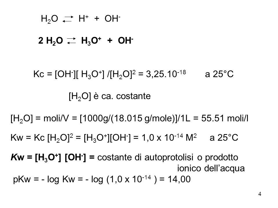 4 H 2 O H + + OH - 2 H 2 O H 3 O + + OH - Kc = [OH - ][ H 3 O + ] /[H 2 O] 2 = 3,25.10 -18 a 25°C [H 2 O] è ca.