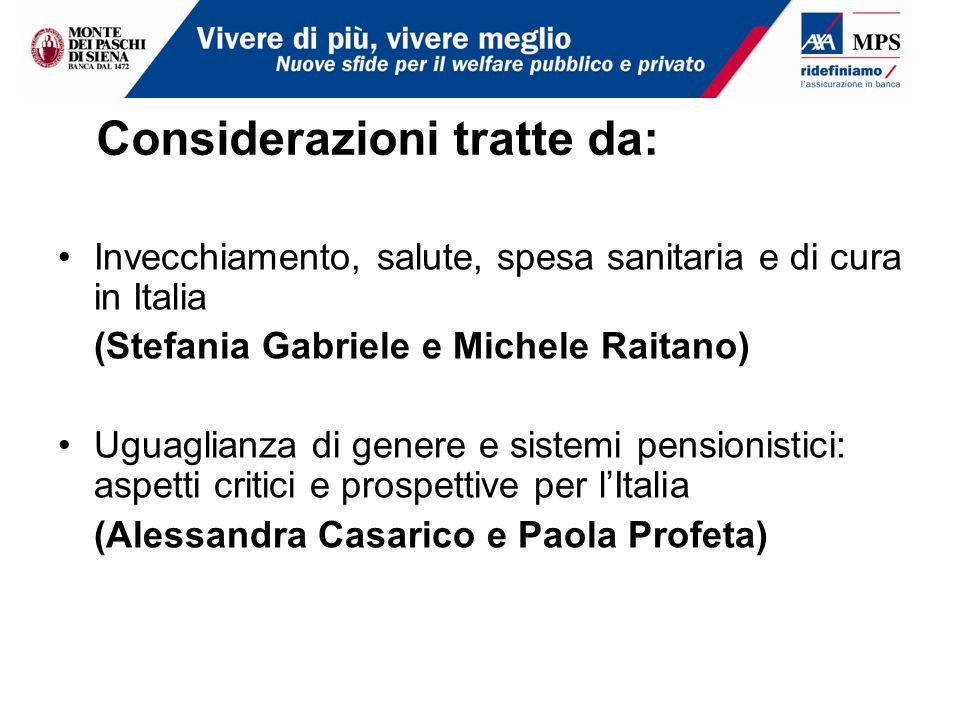 Considerazioni tratte da: Invecchiamento, salute, spesa sanitaria e di cura in Italia (Stefania Gabriele e Michele Raitano) Uguaglianza di genere e si