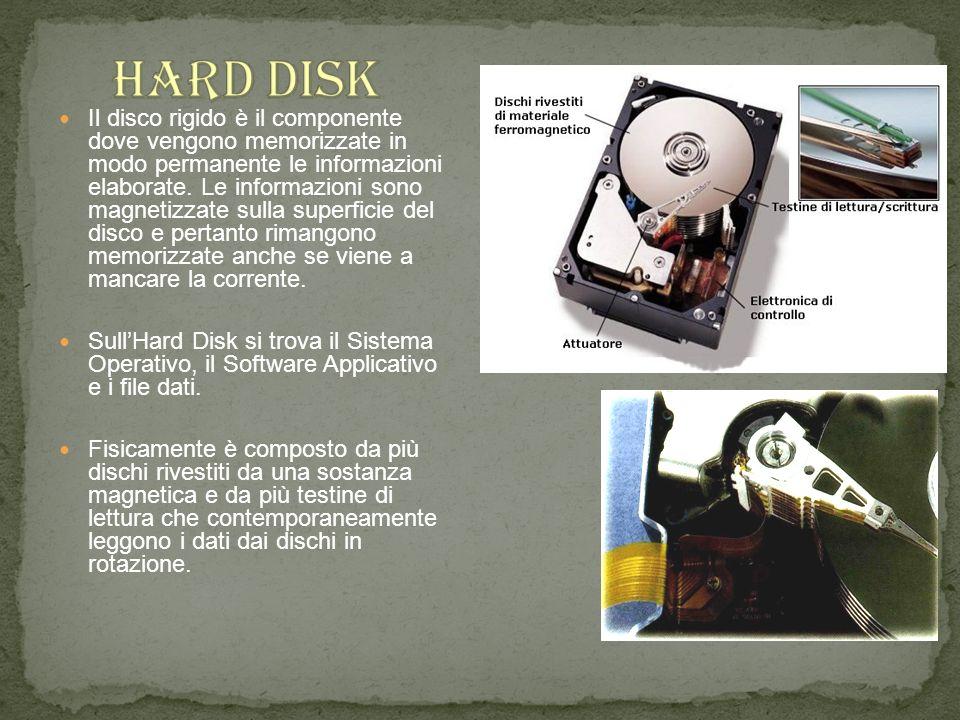 Il disco rigido è il componente dove vengono memorizzate in modo permanente le informazioni elaborate. Le informazioni sono magnetizzate sulla superfi