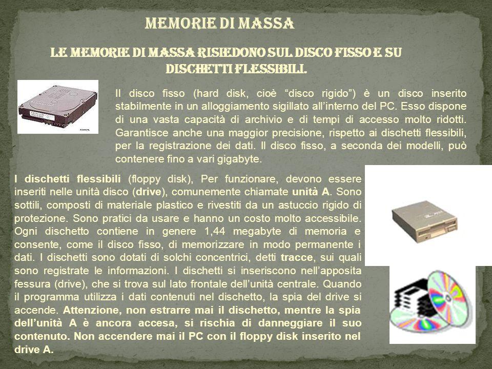 MEMORIE DI MASSA Le memorie di massa risiedono sul disco fisso e su dischetti flessibili. Il disco fisso (hard disk, cioè disco rigido) è un disco ins