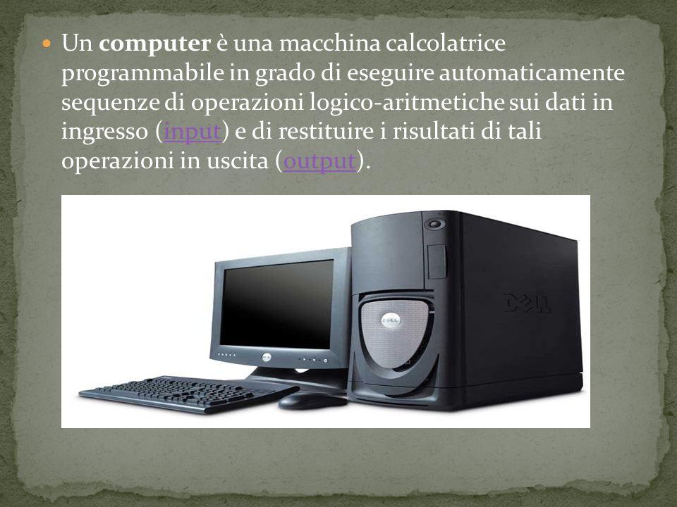 Un computer è una macchina calcolatrice programmabile in grado di eseguire automaticamente sequenze di operazioni logico-aritmetiche sui dati in ingresso (input) e di restituire i risultati di tali operazioni in uscita (output).inputoutput