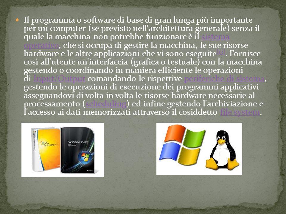 Il programma o software di base di gran lunga più importante per un computer (se previsto nell architettura generale) senza il quale la macchina non potrebbe funzionare è il sistema operativo, che si occupa di gestire la macchina, le sue risorse hardware e le altre applicazioni che vi sono eseguite [13].
