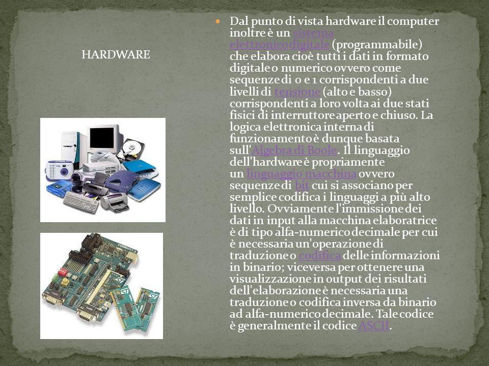 Dal punto di vista hardware il computer inoltre è un sistema elettronico digitale (programmabile) che elabora cioè tutti i dati in formato digitale o numerico ovvero come sequenze di 0 e 1 corrispondenti a due livelli di tensione (alto e basso) corrispondenti a loro volta ai due stati fisici di interruttore aperto e chiuso.