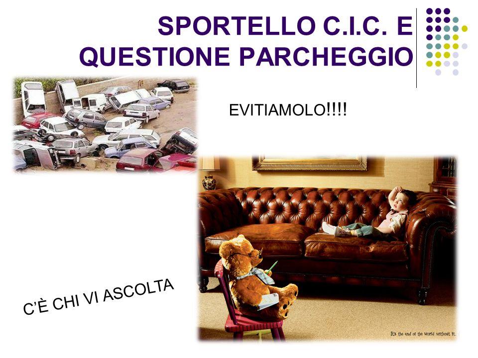 SPORTELLO C.I.C. E QUESTIONE PARCHEGGIO EVITIAMOLO !!!! CÈ CHI VI ASCOLTA