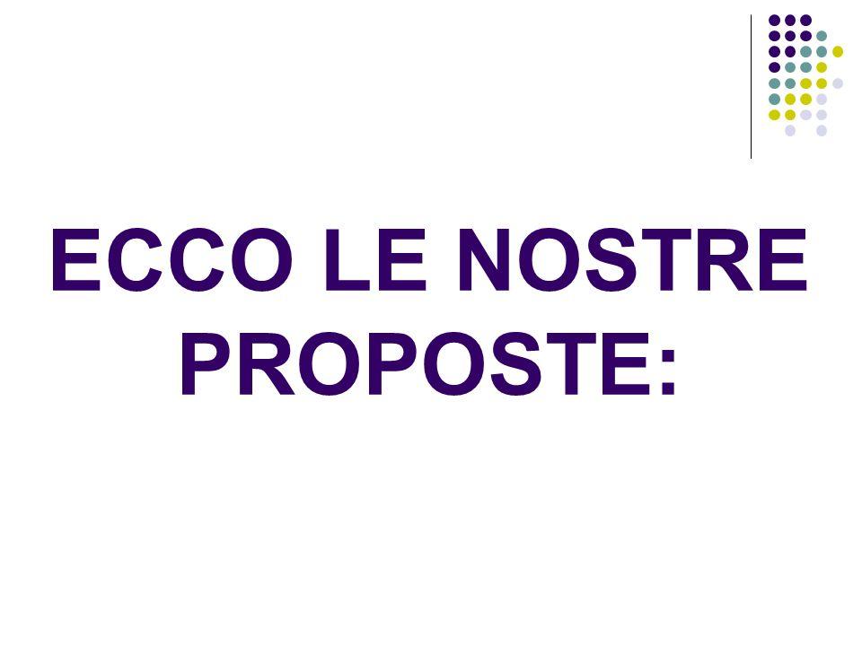 ECCO LE NOSTRE PROPOSTE: