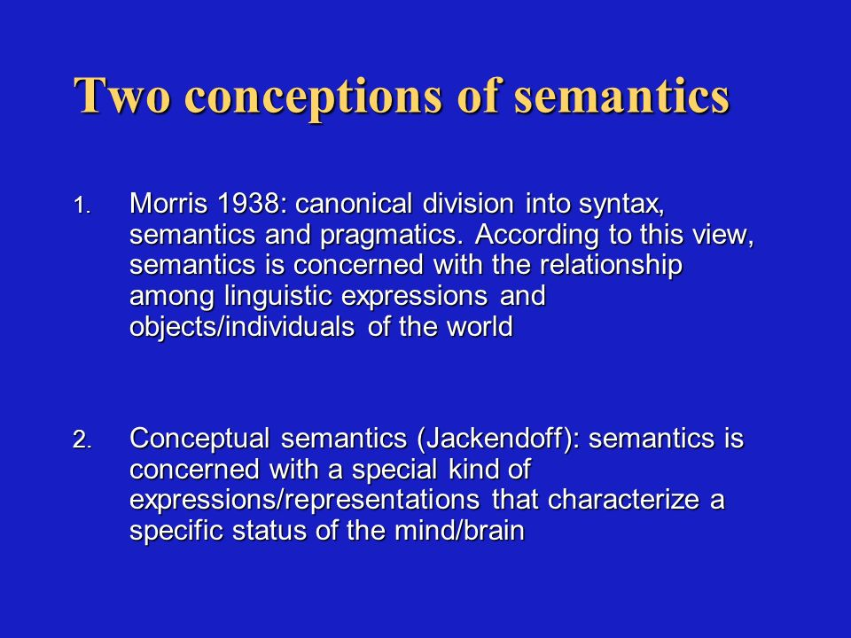 Chomsky: semantics does not involve a direct relation with the external world Criticism of the notion of reference: linguistic expressions refer to the objects of the world, but this happens from the perspective of specific human interests and objectives, and with curious properties (Nuovi orizzonti, 73).