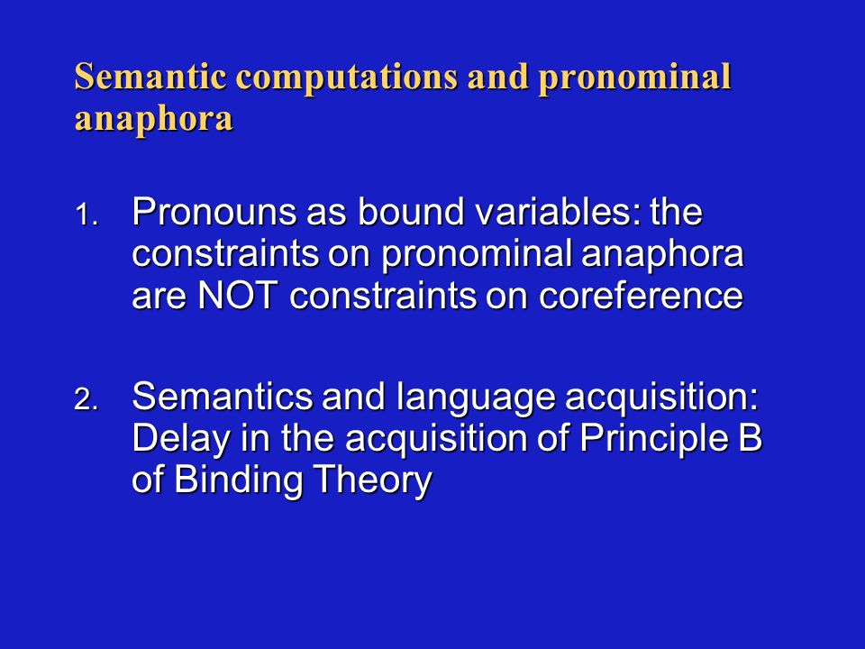 Semantic computations and pronominal anaphora 1.