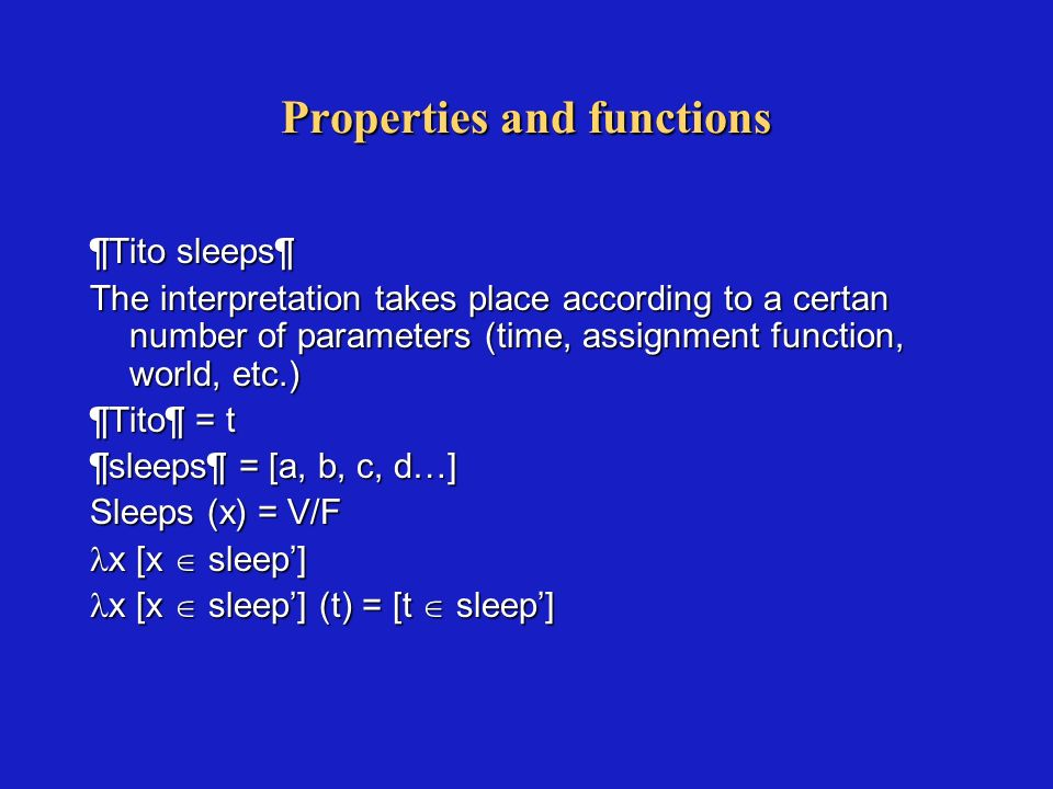 Semantic tipes f = properties (N, V, A) f = properties (N, V, A) f = mother of f = mother of f = negation f = negation f > = transitive verbs f > = transitive verbs f, > = antonyms, modifiers… f, > = antonyms, modifiers… f, t> = quantifiers f, t> = quantifiers